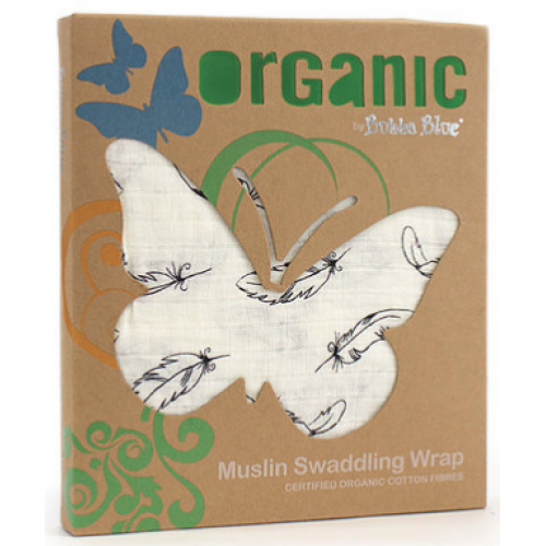 Bubba Blue Cotton Muslin Swaddling Wrap Organic Feathers
